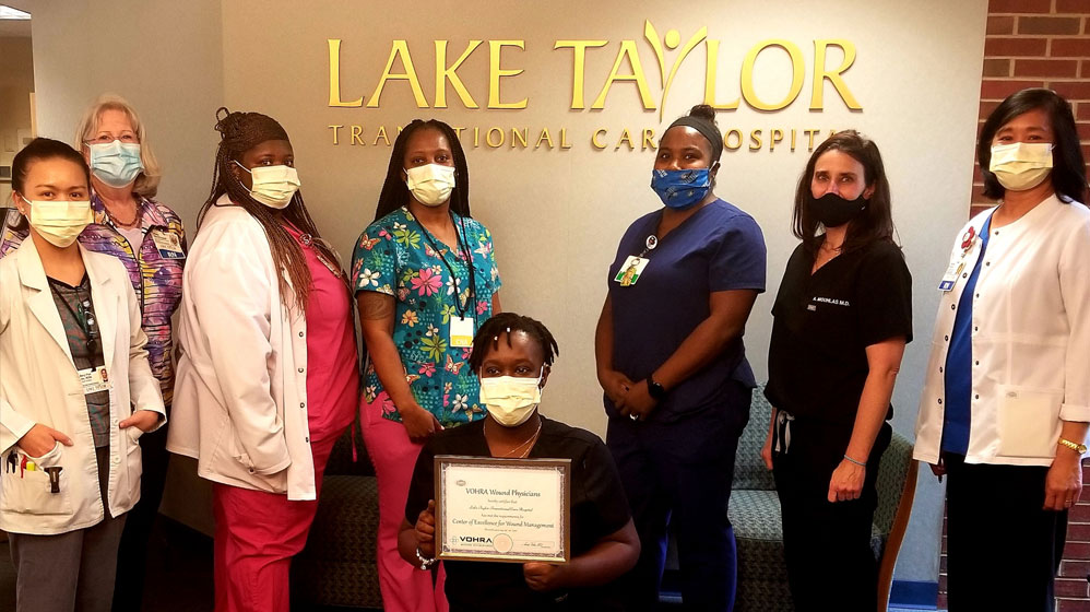 Lake Taylor staff with VOHRA Center of Excellence for Wound Management Award