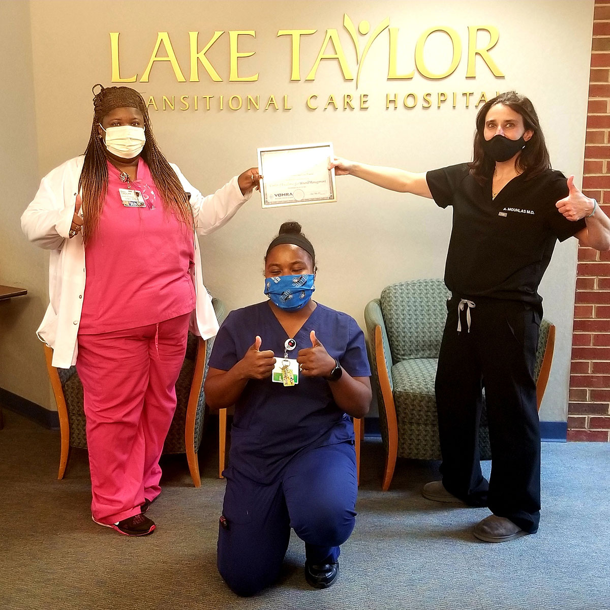 Lake Taylor staff give thumbs up to VOHRA Wound Management Certification